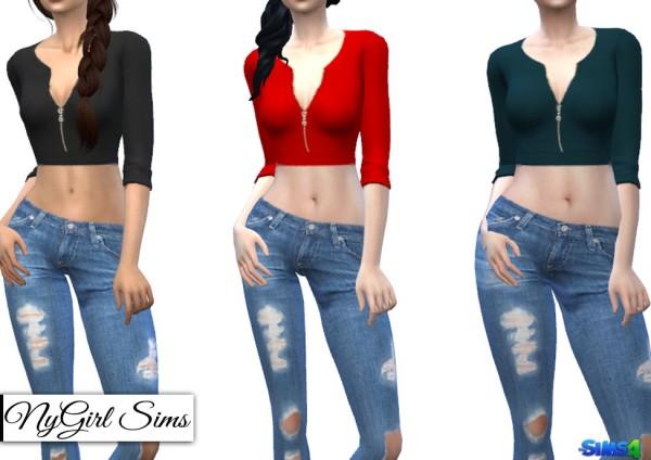 NY Girl Sims: Zippered V Neck Crop Sweater