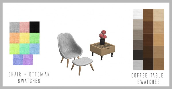 Sims 4 Designs: Pastel Chair and Ottoman and Window Coffee Table