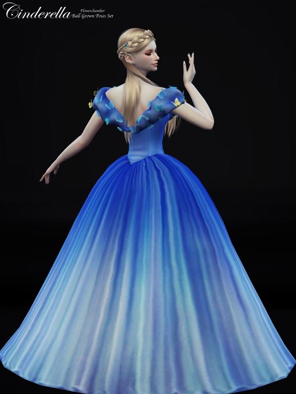 Flower Chamber Cinderella Ball Grown Poses Set Sims 4