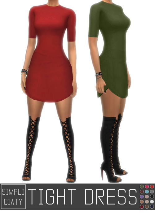 Simpliciaty Tight Dress V2 Sims 4 Downloads