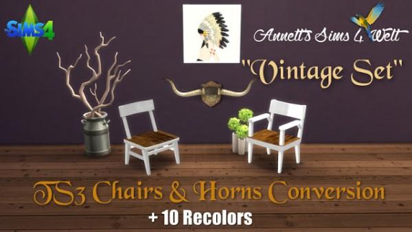 Annett`s Sims 4 Welt: Chairs & Horns Conversion Vintage Set