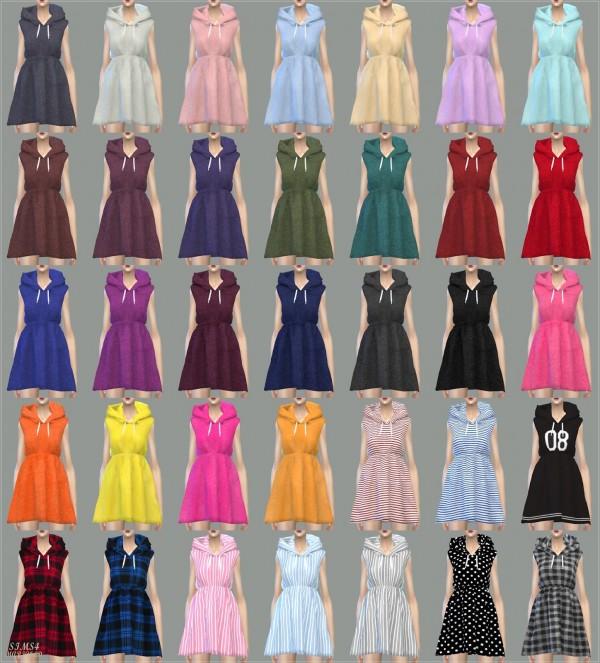 SIMS4 Marigold: Hood Sleeveless Dress
