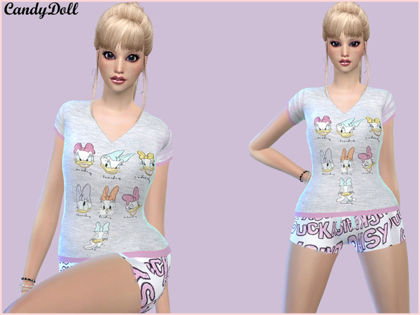 The Sims Resource: Candy Doll Daisy Duck Set by Divadelic06