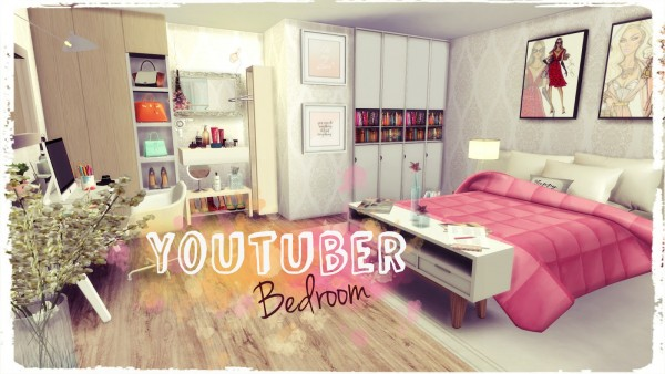 Dinha gamer youtuber bedroom sims 4 downloads for Bedroom designs sims 4