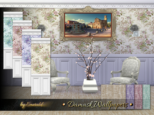 The Sims Resource: Damask Wallpapers by Emerald