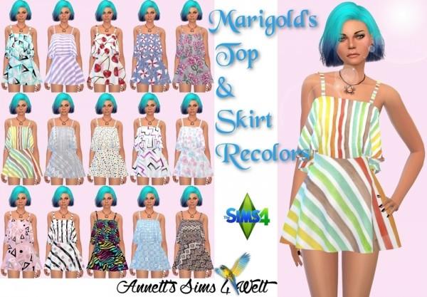 Annett`s Sims 4 Welt: Marigolds Skirt & Top   Recolors