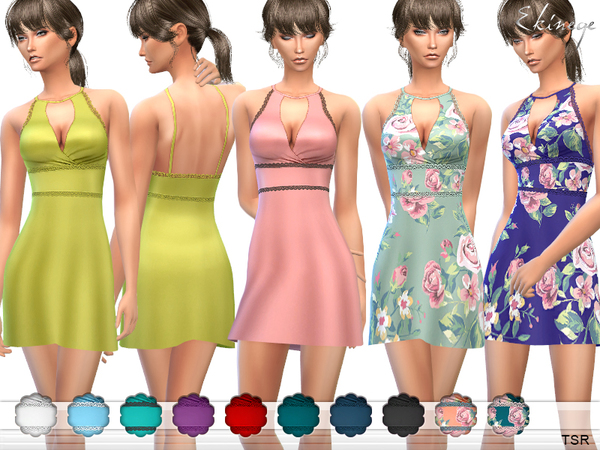 The Sims Resource: Halter Skater Dress by ekinege