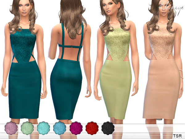 The Sims Resource: Cut Out Lace Bodice Pencil Dress by Ekinege