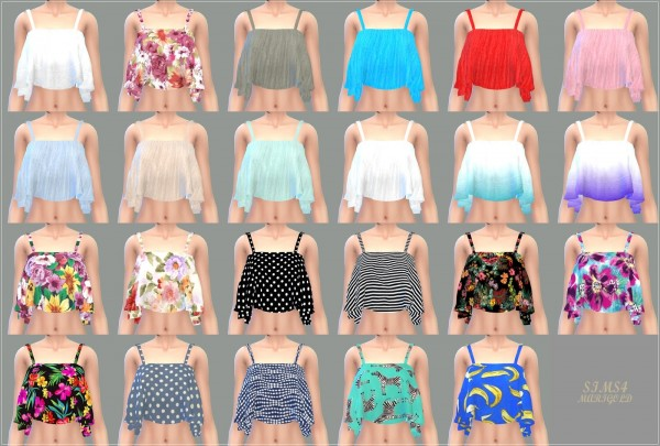 Sims4 Marigold Ruffle Sleeveless Crop Top Sims 4 Downloads