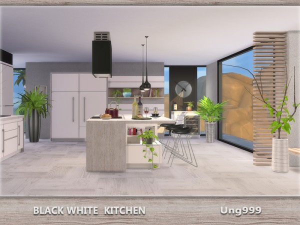 The sims resource black white kitchen by ungg999 sims 4 for Modern kitchen sims 3