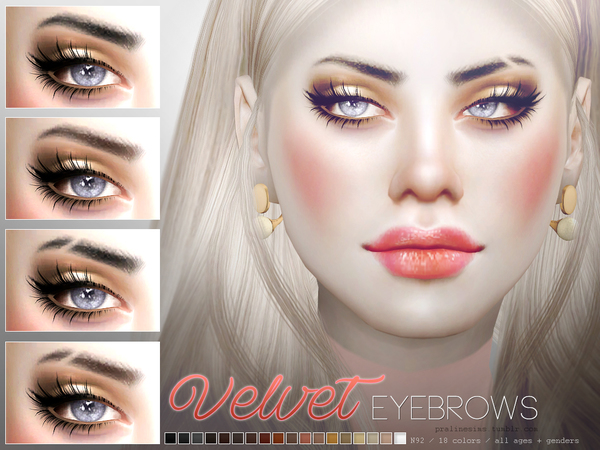 The Sims Resource: Velvet Eyebrow Duo by Pralinesims