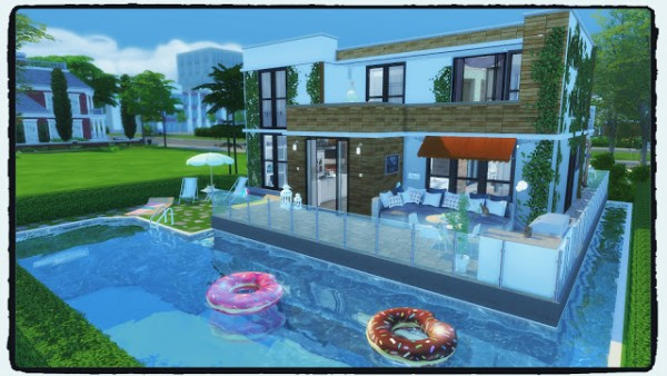 Dinha gamer modern house with pool sims 4 downloads for Pool design sims 3