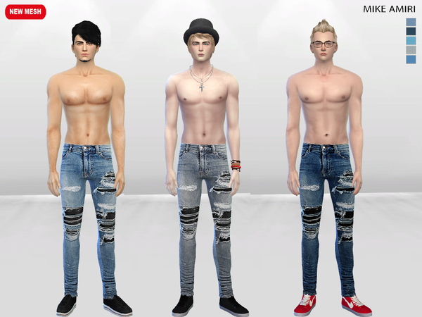 The Sims Resource: Repar Distressed Jeans by McLayneSims