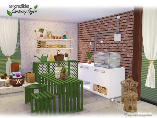 The sims resource gardening foyer decor by simcredible for Sims 4 exterior design