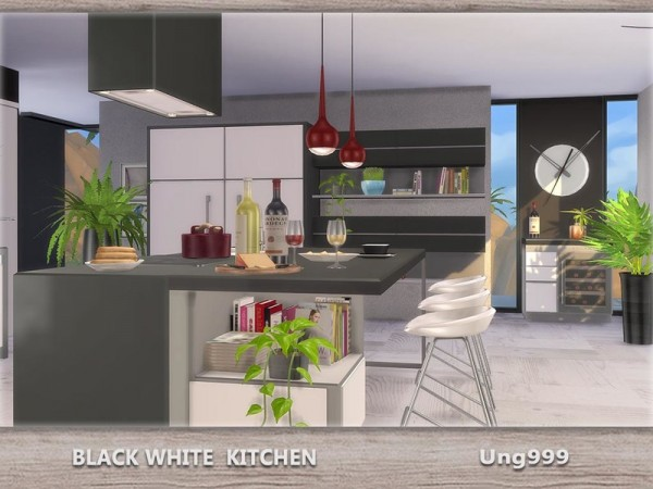 The Sims Resource Black White Kitchen By Ungg999 Sims 4