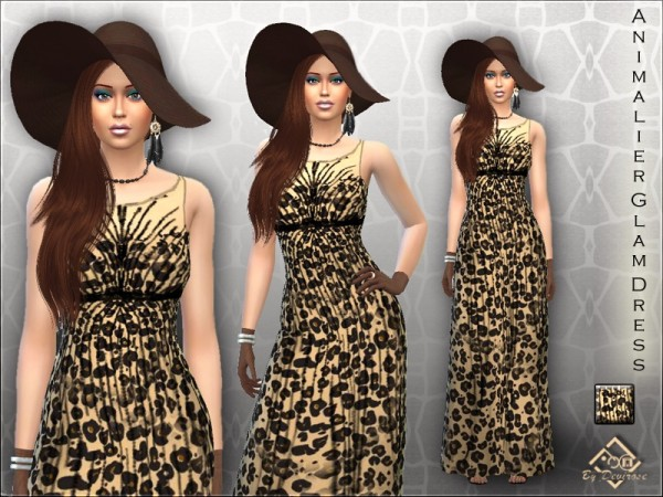 The Sims Resource: Animalier Glam Dress by Devirose