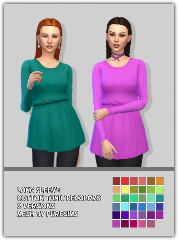 Simsworkshop: Cotton Tunic Recolored by maimouth