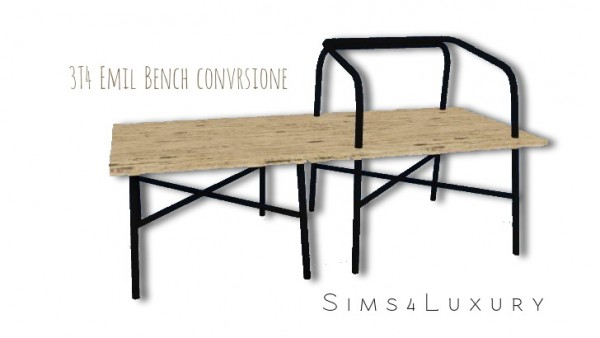 Sims4Luxury: Emil Bench converted from TS3 to TS4