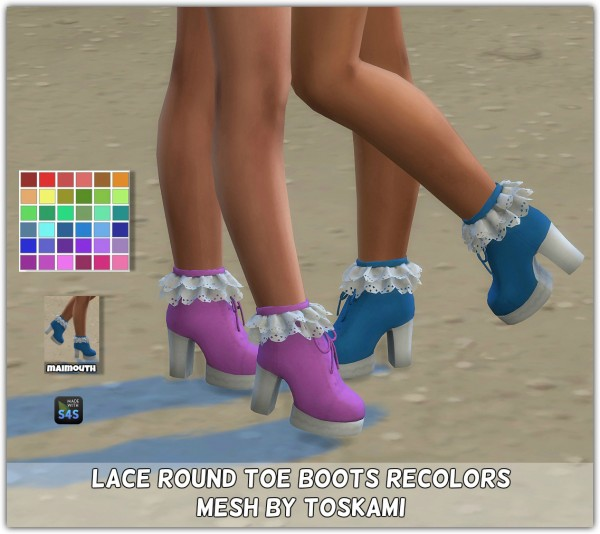 Simsworkshop: Lace Round Toe Boots Recolored by maimouth
