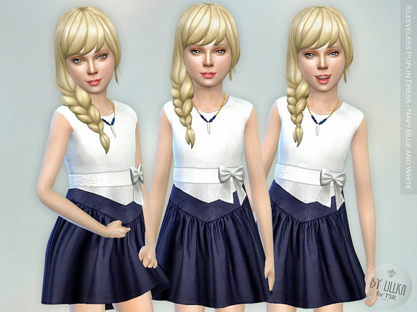 The Sims Resource: Sleeveless Poplin Dress   Navy Blue and White by lillka