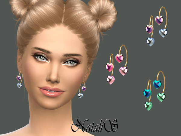 The Sims Resource: Gradient heart earrings by NataliS