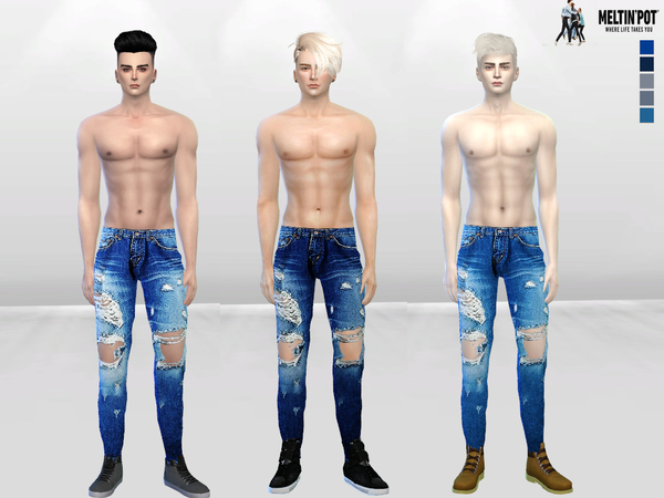 The Sims Resource: Ibisa Distressed Denim Jeans by McLayneSims