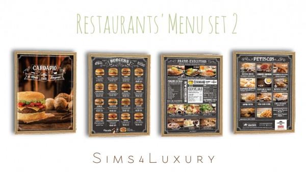 Sims4Luxury: Restaurants Menu set 2
