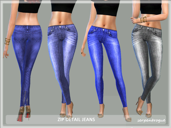 The Sims Resource: Detailed Jeans by Serpentrogue