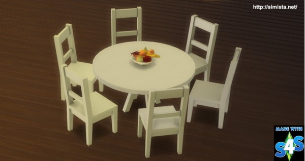 Simista Six Seat Round Dining Table Sims 4 Downloads