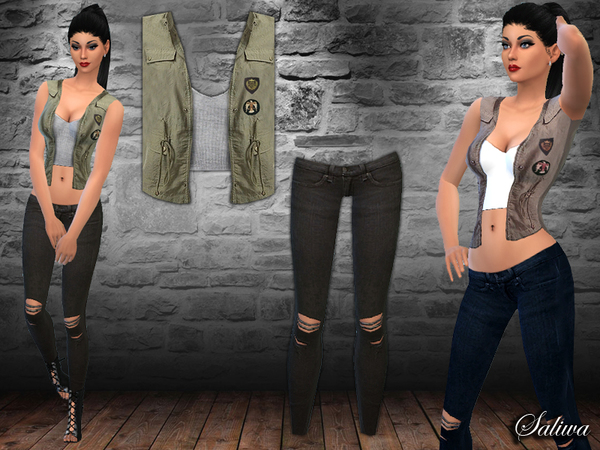 The Sims Resource: Military Vest Outfit by Saliwa