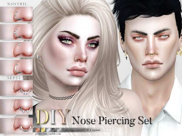 the sims resource nose piercing set by pralinesims sims