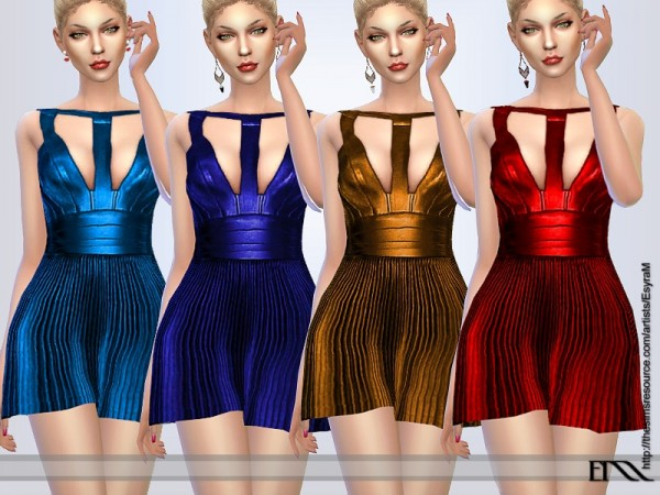 The Sims Resource: Pleated Leather dress by EsyraM