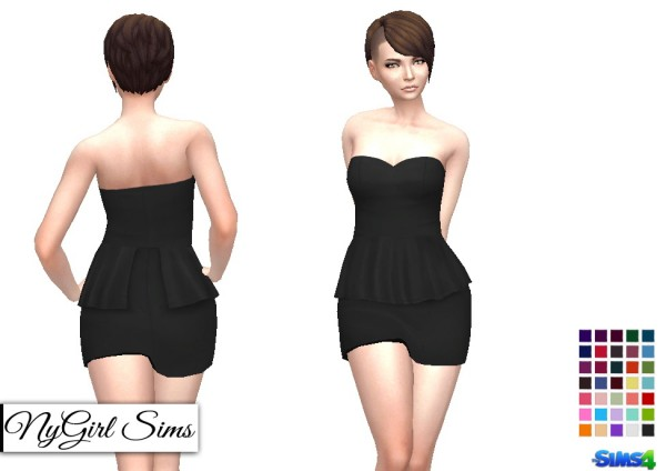 NY Girl Sims: Strapless Peplum Mini Dress