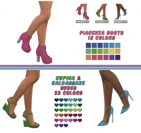 Simsworkshop: 3 Of Madlen's Shoes Recolored by maimouth