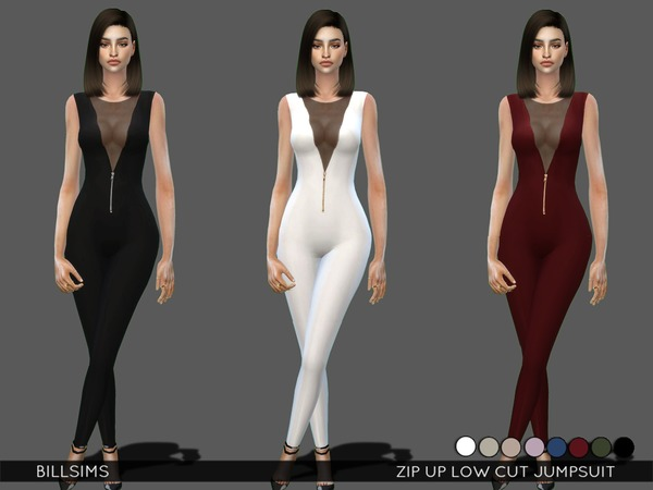 The Sims Resource: Zip Up Low Cut Jumpsuit by Bill Sims