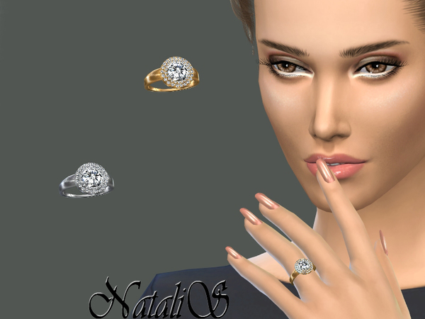 The Sims Resource: Double halo daimond ring by NataliS