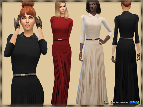 The Sims Resource: Dress & Pleated Skirt by bukovka • Sims 4 Downloads
