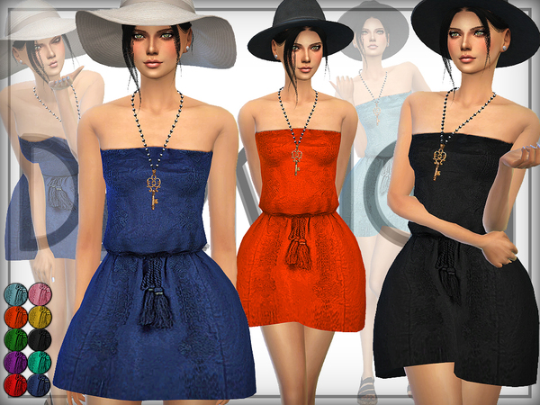 The Sims Resource: Embroidered Beach Dress by DarkNighTt