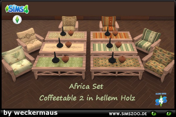Blackys Sims 4 Zoo: Africa Set Recolors1 Coffeetable2 by  weckermaus