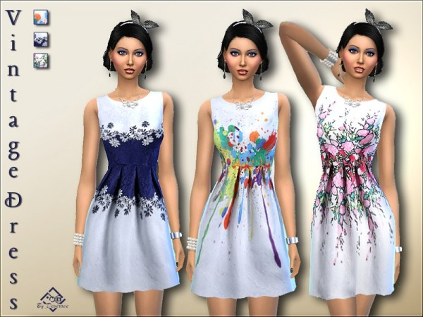 The Sims Resource: Vintage Dress by Devirose