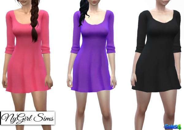 NY Girl Sims: Basic Three Quarter Sleeve Tee Dress