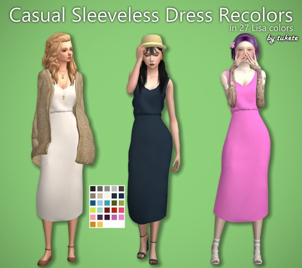 Tukete: Casual Sleeveless Dress Recolors