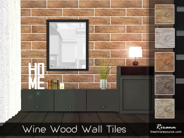 The Sims Resource: Wine Wood Wall Tiles by Rirann
