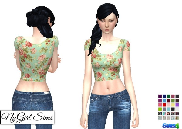 NY Girl Sims: Basic Fitted Crop T Shirt