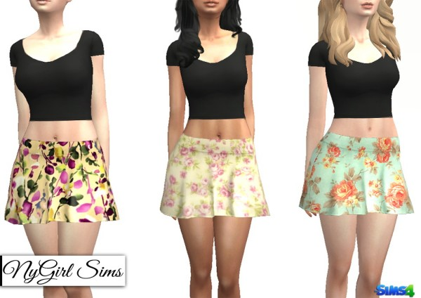 NY Girl Sims: Floral Flare Skirt