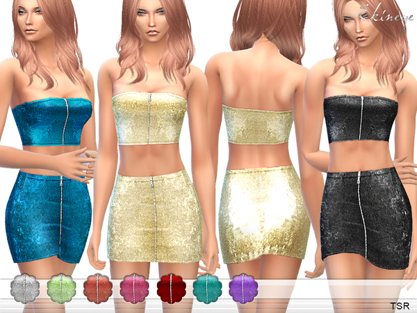 The Sims Resource: Sequin Top & Skirt   Set15 by ekinege