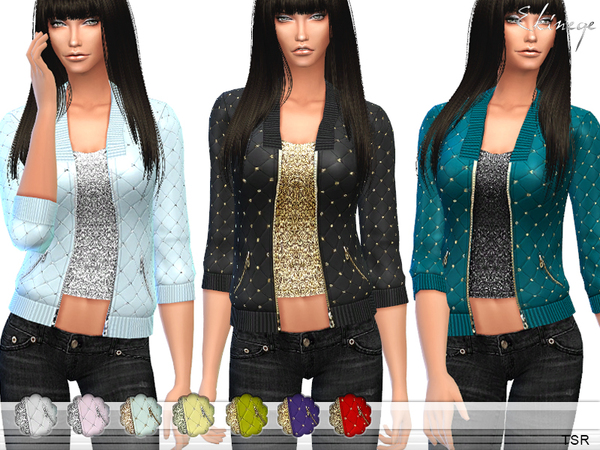 The Sims Resource: Embellished Quilted Jacket by ekinege