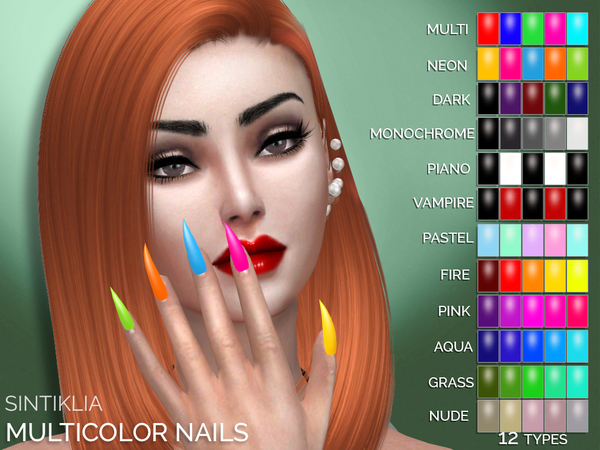 The Sims Resource: Multicolor sharp nails by Sintiklia