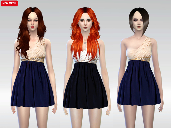 The Sims Resource: Two Color Shoulder Dress by McLayneSims