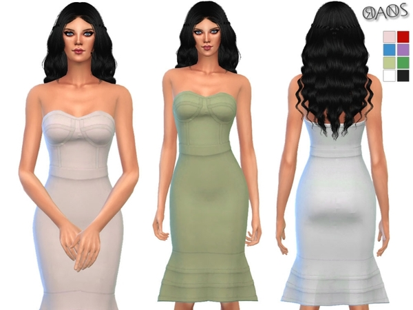 The Sims Resource: Bandage Flounce Bodycon Dress by OranosTR